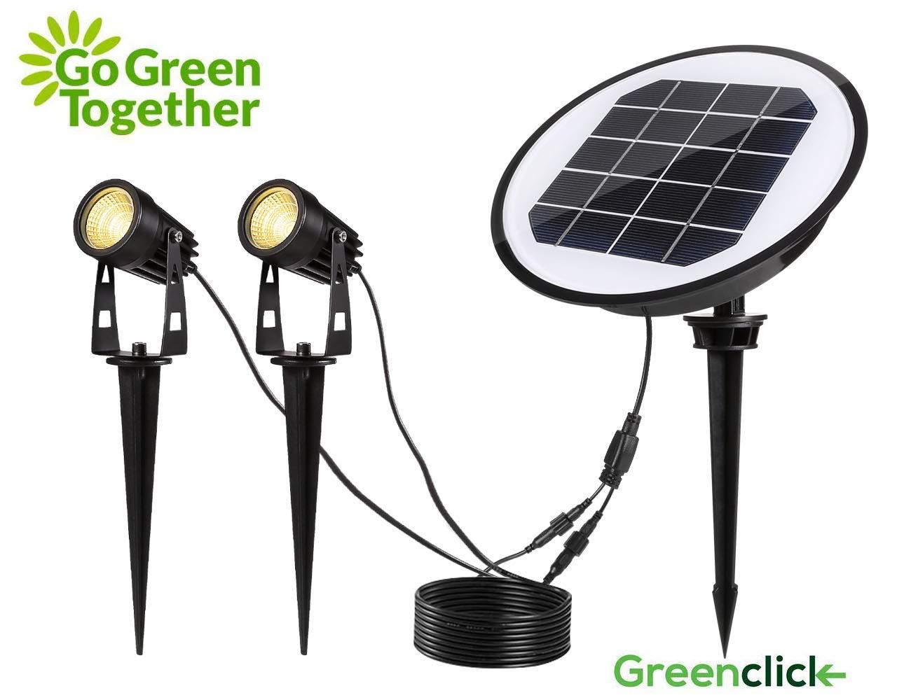 GreenClick Iluminaci/ón de Jard/ín con Espiga de Tierra Foco Blanco C/álido L/ámpara y Iluminaci/ón de Spot Luz de C/ésped Luz de Jard/ín IP65 LED Impermeable COB Proyector de Jard/ín con Enchufe