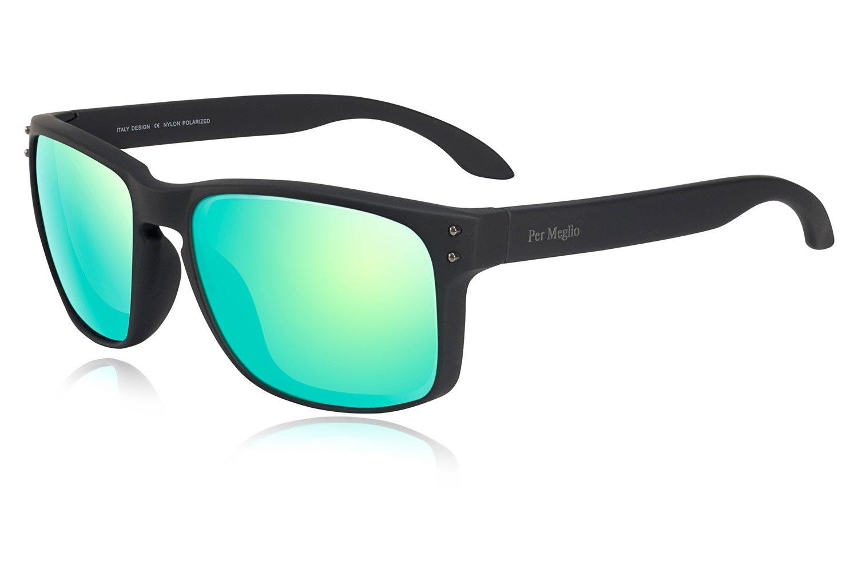 Men Sunglasses polarized | UV400 Protection Nylon Lens | Cut Glare Vision Comfort | Military Optical Performance | TR90 Frame by Per Meglio (Matt Black, Green Flash)