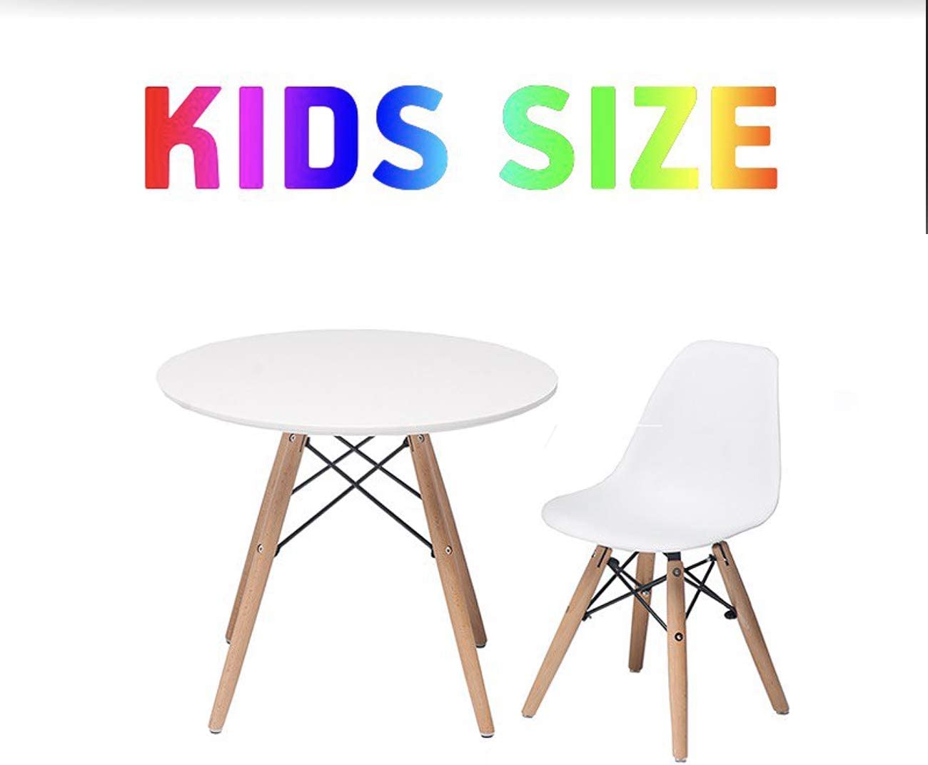Buschman Set of White Eames Style Kids Dining Room Mid Century Wooden Legs Table and Two Chairs Armchairs