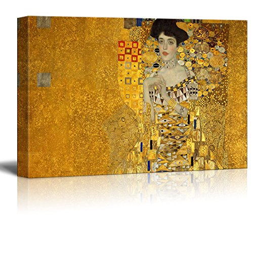 wall26 Canvas Wall Art - Adele Bloch-Bauer's Portrait by Gustav Klimt - Giclee Print Gallery Wrap Modern Home Decor Ready to Hang - 32x48 ()