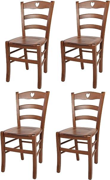 Modelli Sedie Per Cucina.Tommychairs Set 4 Sedie Modello Cuore Per Cucina Bar E Sala Da Pranzo Robusta Struttura In Legno Di Faggio Color Noce Chiaro E Seduta In Legno Amazon It Casa E Cucina