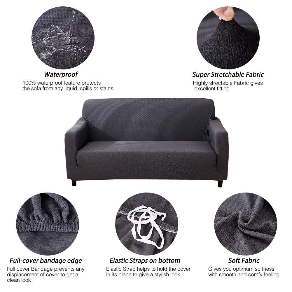 HOTNIU Funda Elástica de Sofá Funda Impermeable para sofá Antideslizante Protector Cubierta de Moda (3 Plazas, Gris)