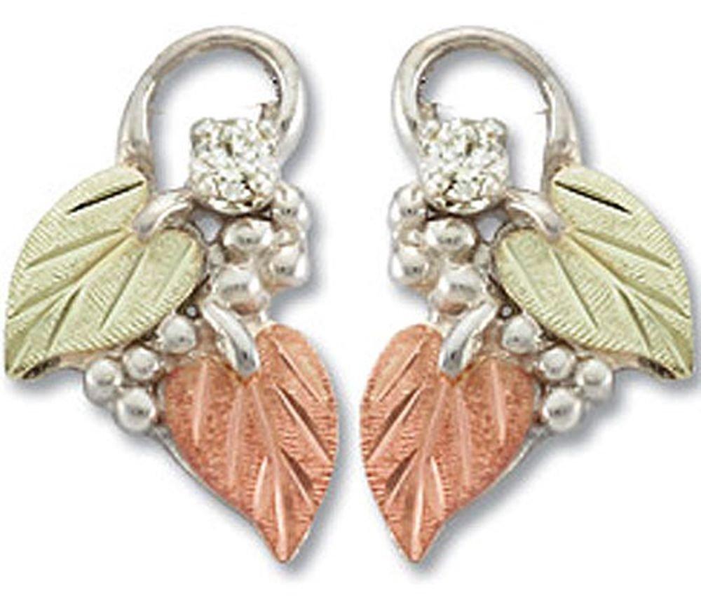 Landstroms Black Hills Silver Diamond Earrings with 12k Gold Leaves - ER835PXSS
