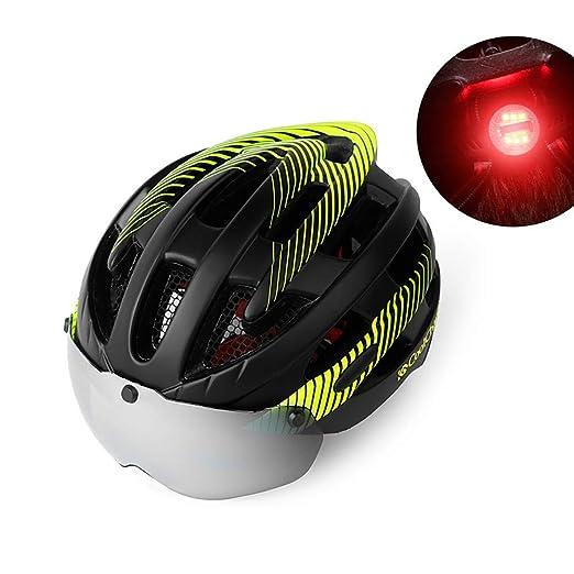 TKTTBD Ajustable Casco Bicicleta con Luz LED, Ligera Casco Bici ...