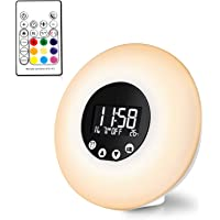 Wake Up Light Sunrise Alarm Clock 2019 Upgrade Remote Control Thermometer FM Radio 9 Changing Colors 8 Alarm Sounds USB Powered Wake-Up Lights Night Mood Light Sunset Simulation Beside Lamp Kid Adult