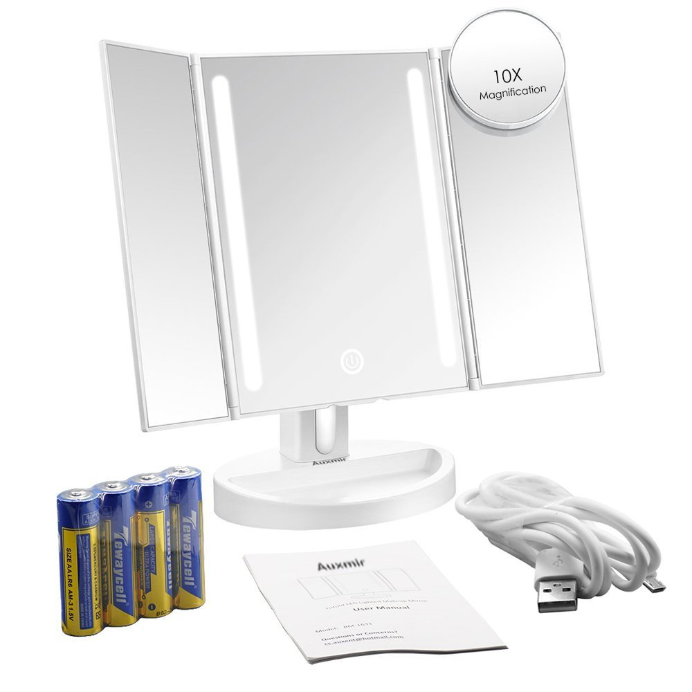 Auxmir Trifold LED Lighted Makeup Mirror, Vanity Mirror with 10X Magnifying Spot Mirror,Dimmable, Touch Screen, Auto Off, 180° Rotation Tabletop Cosmetic Mirror for Makeup, Shaving and Facial Care by Auxmir