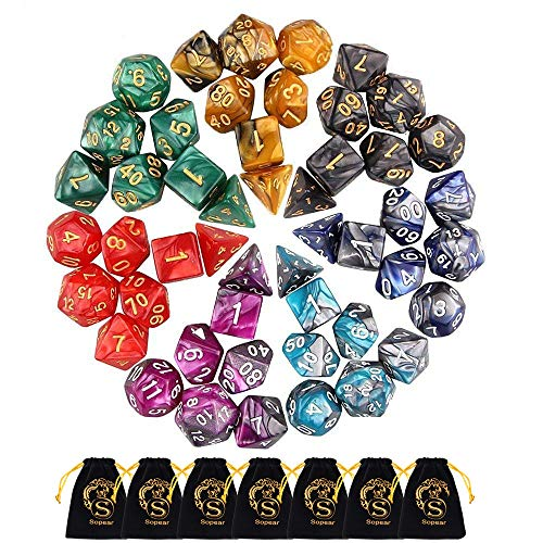 Dnd Dice/Sopear Dungeon And Dragons Dice of 49 PCS/Double-Colors Polyhedral Dice for Dungeons and Dragons DND RPG MTG Table Games D4 D8 D10 D12 D20