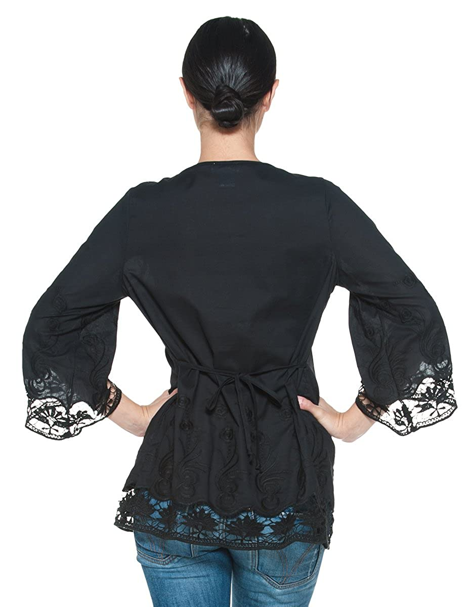 Mujer Plus algodón Boho Split Cuello En V bordado Picardías Campesino Top Blusa: Amazon.es: Ropa y accesorios