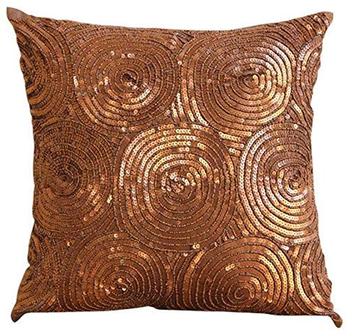 The HomeCentric Luxury Copper Pillows Cover, Spiral Sequins Antique Throw Pillows Cover, 16