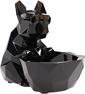iChoue French Bulldog Decor Dog Sculptures Abstract Animal Figurines Geometric Surface Puppy Statues Gift Present for Dog Lovers-Black