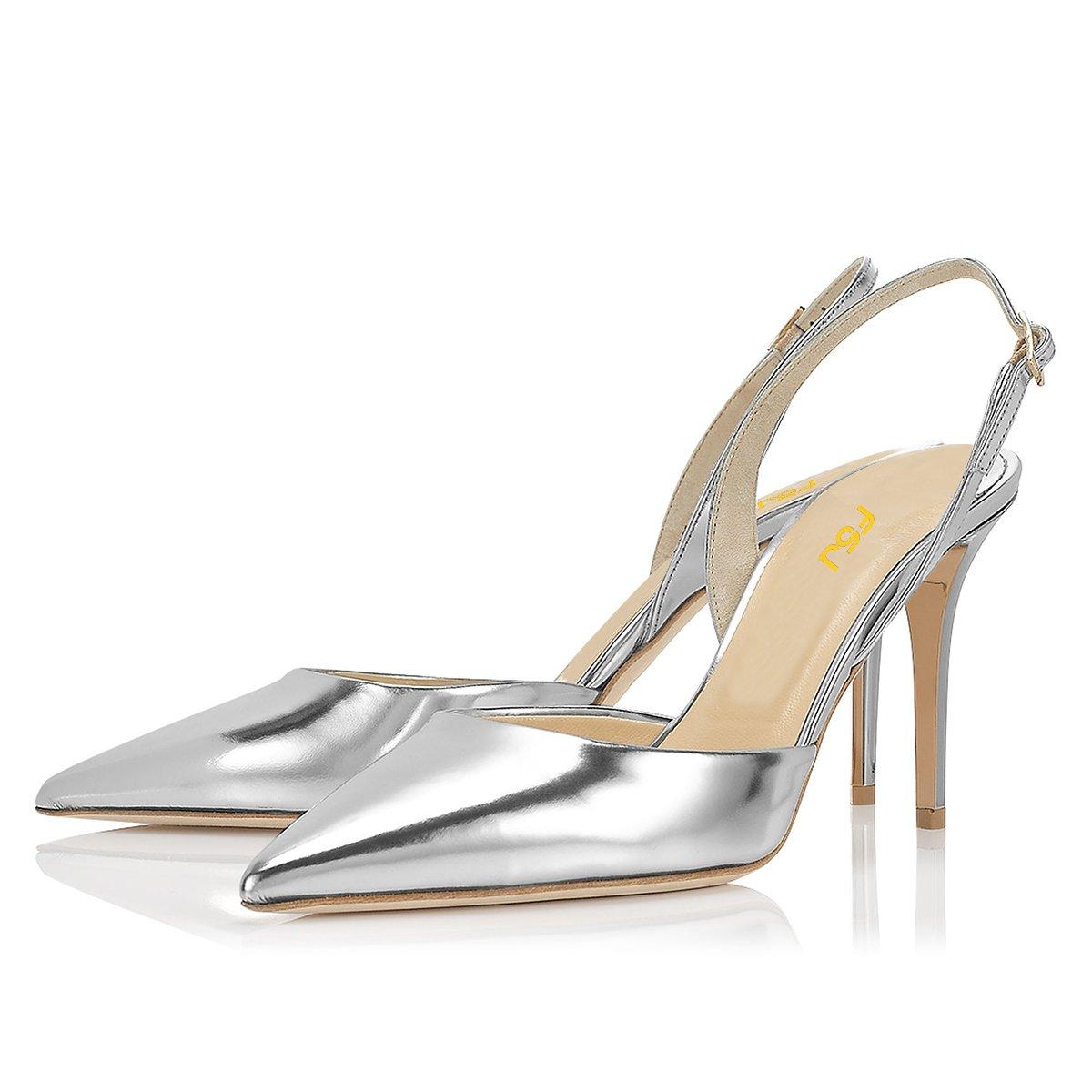 FSJ Women Pointed Toe Pumps Slingback Stilettos Heels Sandals Ankle Strap Shoes Size 7 Silver