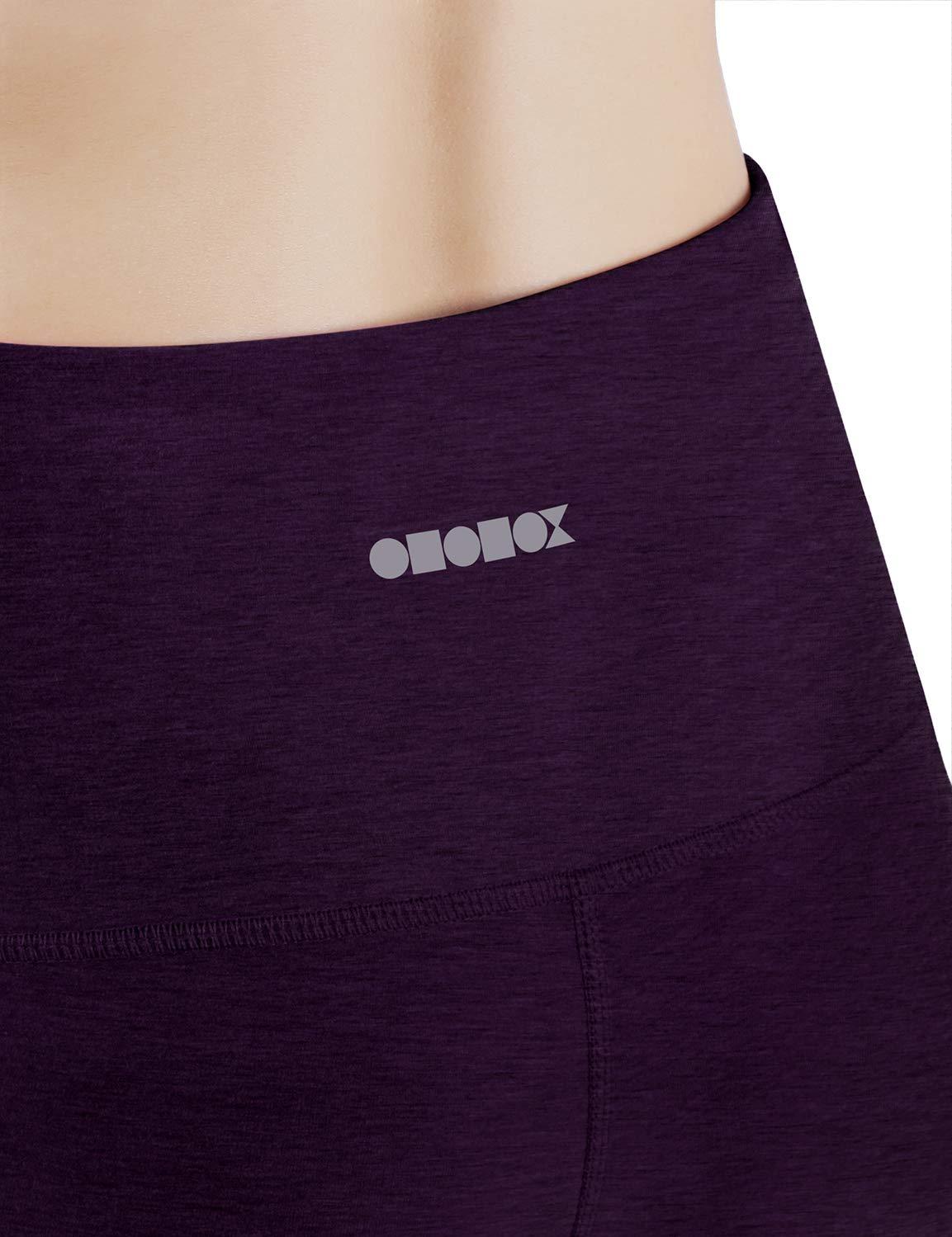 ODODOS High Waist Out Pocket Yoga Capris Pants Tummy Control Workout Running 4 Way Stretch Yoga Leggings,DeepPurple,X-Small by ODODOS (Image #5)