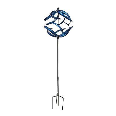 Things2Die4 Blue Metal Art Dual Spinning Wind Catcher Garden Stake : Garden & Outdoor