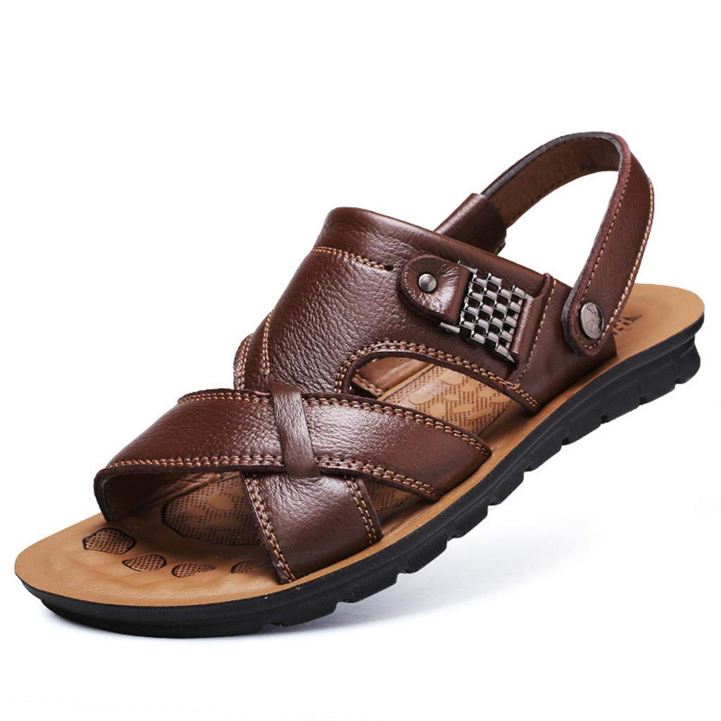 Sandals for Men Fisherman Leather Breathable Adjustable Breathable Beach Walking Slippers (US:11, Brown) by Yihaojia Men Shoes