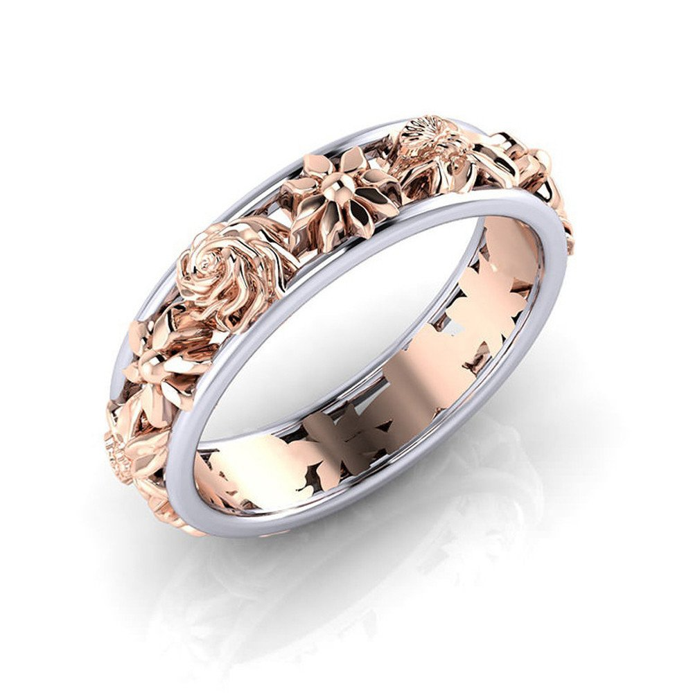 Sterling Silver Flower Double Color Diamond Valentine Gift Ring Rings for Girls CieKen