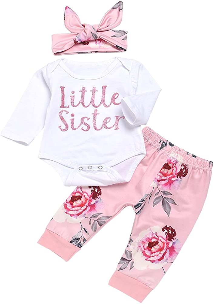Yokidi 0-18M Newborn Coming Home Outfits Baby Girl Little Sister Top + Floral Trousers + Headband Clothes Set