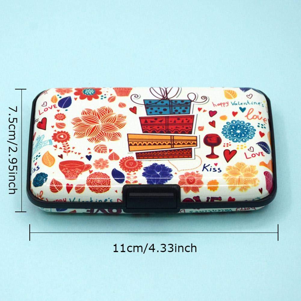 Prosperveil moda donna colore stampa scansione RFID Protect box carta di credito in pelle Style 4