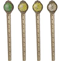 Régua de marcador de livro de metal, 4 peças vintage de bronze seco como marcador de página de livro para estudantes