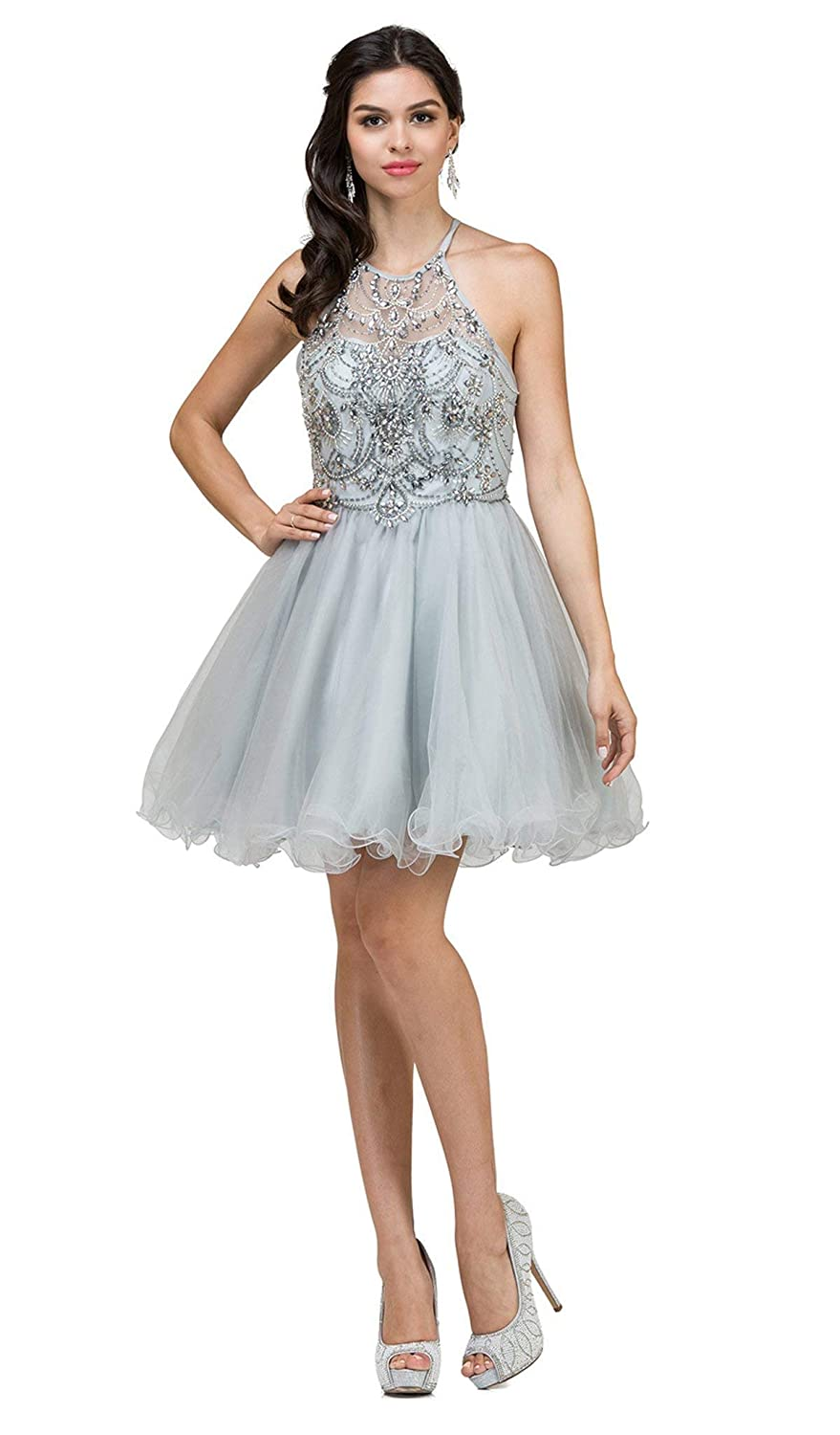d90993b58b60 Dancing Queen 2102 Beaded Halter Cocktail Dress in Silver at Amazon Women's  Clothing store: