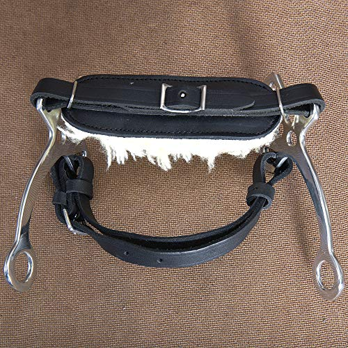 - HILASON Side Stainless Steel Horse Hackamore BIT W/Black Leather