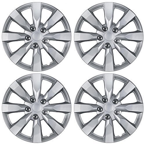 BDK Toyota Corolla Style Hubcaps 16'' Wheel Covers - 2014 Model Replica Cover, Silver, 4 Pieces by BDK
