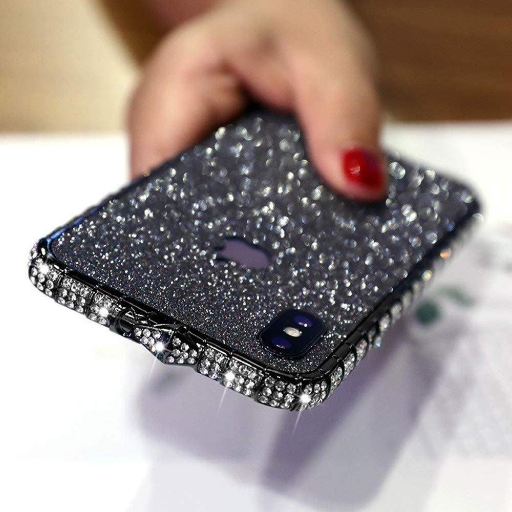 Fusicase LUVI for iPhone Xs Max Case Glitter Bumper Frame Case Luxury Bling Diamond Crystal Rhinestone Sticker Protective Electroplate Aluminum Metal Edge Bumper Case for iPhone Xs Max Black