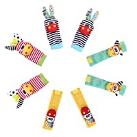 Edealing 2SET Lumineux bébé infantile enfants souple poignet chaussettes pieds Rattle Mains Pieds finder jouets