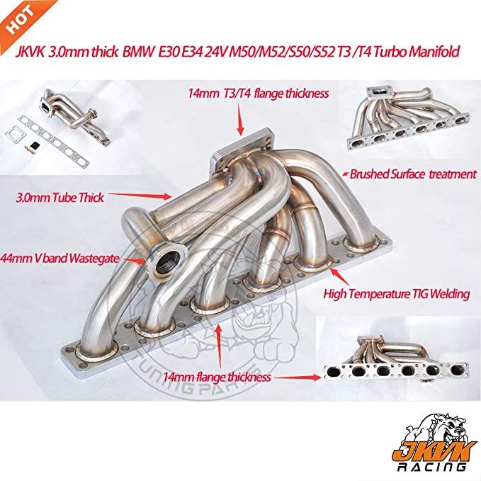 Amazon com: SS321 3 0mm thick Top mount Turbo manifold M50