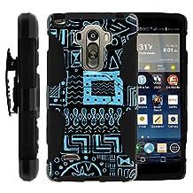 LG Stylo Case, Belt Clip, Full Protection Hybrid Armor Reloaded w/ Kickstand - Artistic Tribal Patterns - for LG G Stylo, G4 Stylus LS770, H631, MS631 by MINITURTLE - Blue Shapes Art