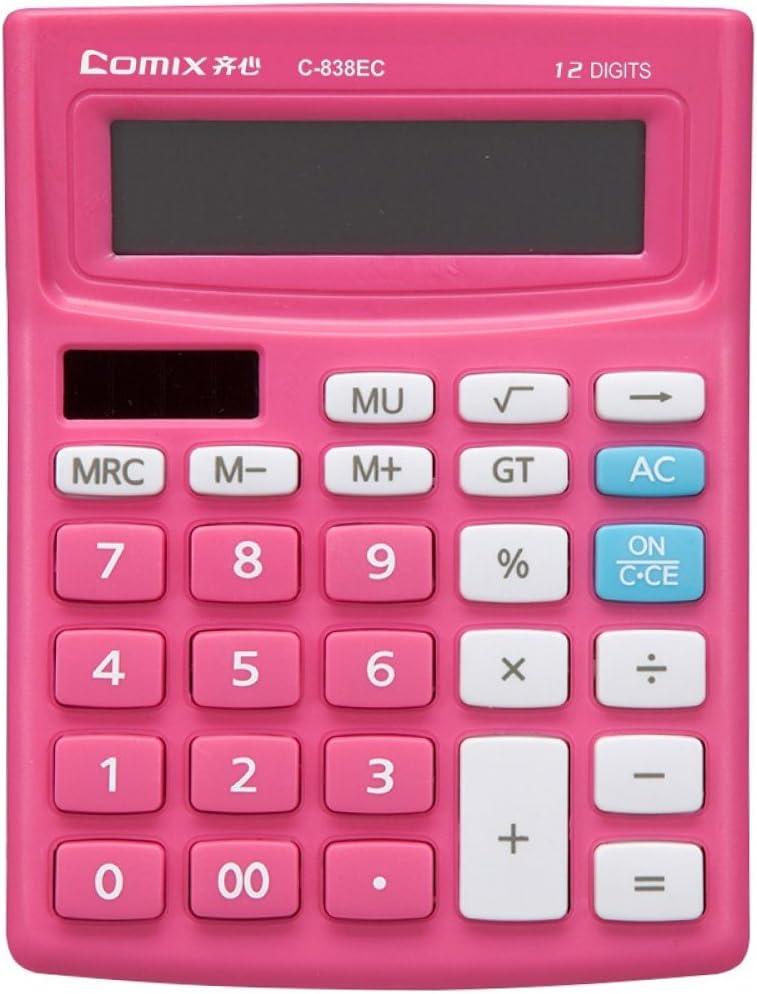 LI-GELISI Electronic Desktop Calculator with 12-digit Large Display, Solar and AA Battery Dual Power Standard 12-Digit Big Display Handheld Function Desktop Calculator(Pink)
