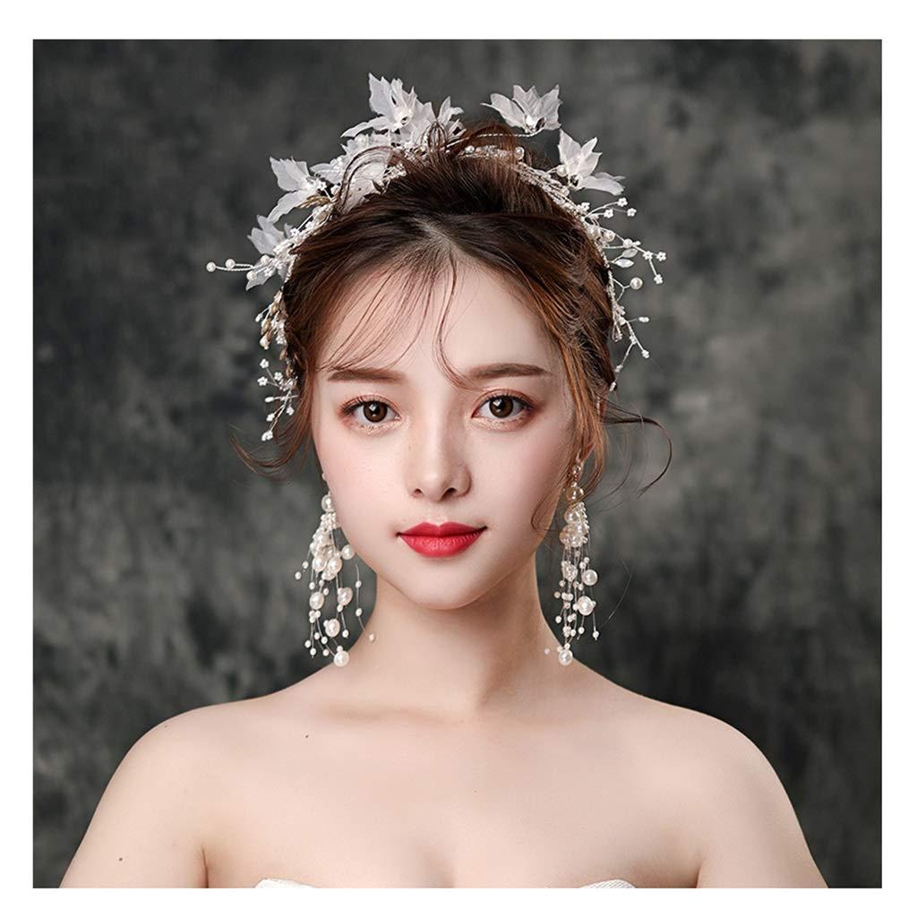Wreath Flower Bride Tiara Handmade Beaded Crepe Flower Headband Wedding Wedding Dress Accessories