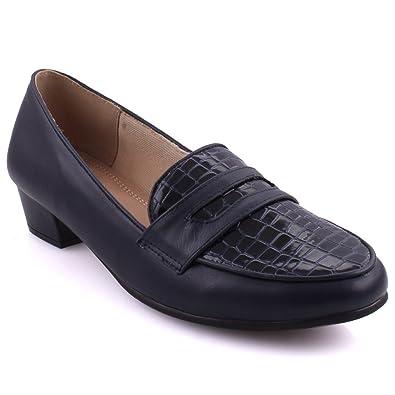 Unze Las Mujeres Bruna Texturizado Corte Vamp Noche Detallada Mocasines Formal UK Tamaño 3-8: Amazon.es: Zapatos y complementos