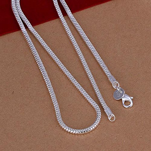 Finerplan Jewelry 3MM Simple 925 Sterling Silver Snake Chain Necklace for Unisex Man Women Gift by Finerplan (Image #3)