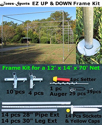 Batting Cage Frame Kit 12' x 14' x 70' EZ UP & DOWN Baseball Softball Frame (70' Batting Cage Frame)