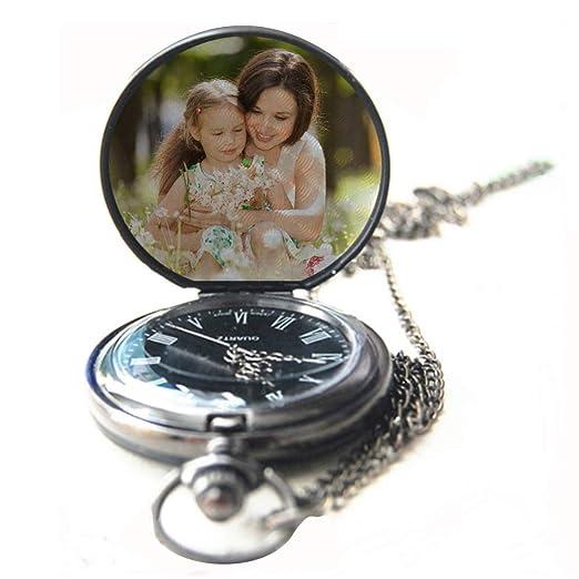Reloj de Bolsillo Hecho a Mano con Foto Personalizada Relojes Personalizados con Foto Relojes Fotográficos Personalizados para Unisex Regalo de Cumpleaños: ...