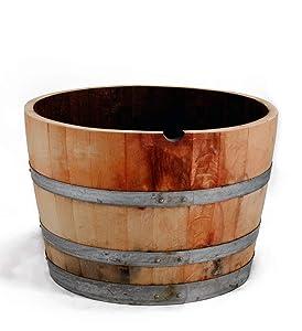 """MGP Water Tight Half Wine Barrel Planter, 26"""" X 18"""" X 26"""""""