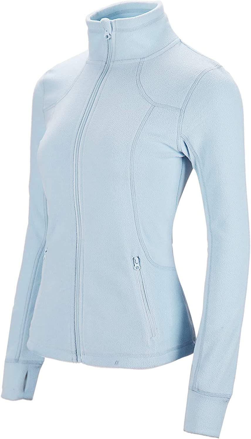 Dolcevida Womens Lightweight Soft Fleece Athletic Running Track Jackets Slim Fit Workout Jacket with Thumb Holes
