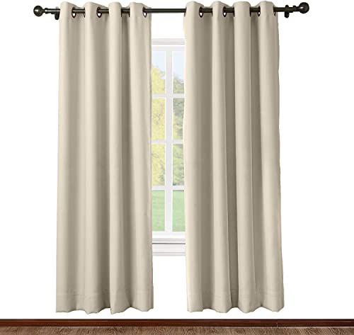 TWOPAGES Grommet Curtain Beige Solid Thermal Insulated Blackout Drape