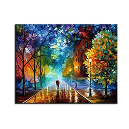 Wonzom Rural Landscape Diy Oil Painting By Numbers Canvas Art Home Decor Wall Picture 16 20 Inch Framed