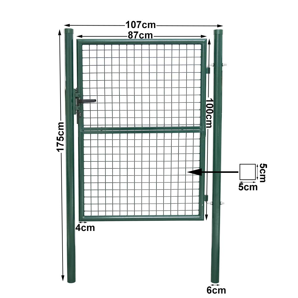 Puerta de Jardin de Malla /Φ5mm Bisagras Galvanizadas y Ajustables Tubo de Acero con Cerradura de Metal Malla Valla Verde Redonda 100 x 100cm