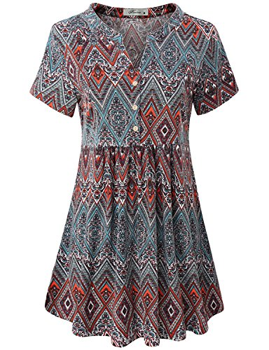 Rouched Front Top (Finice Pleated Tunic, Ladies Blouse Notch V Neck Short Sleeve Shirt Dress Highwaist Front Pleated Stretchy Soft Comfy Maternity Tops For Leggings For Women Geometric Printed Red M)