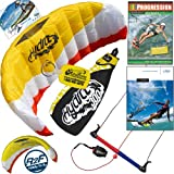 HQ Hydra 300 V2 Kiteboarding Trainer Kite Bundle Including Progression Beginner Kitesurfing Instructional DVD & IKO Student Handbook Power Foil Traction Land Snow Water Kiting