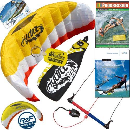 HQ Hydra II 300 V2 Kiteboarding Trainer Kite Bundle : Including Progression Beginner Kitesurfing Instructional DVD + IKO Student Handbook + WindBone Kiteboarding Key Chain : Power Foil Traction Land Snow Water Kiting