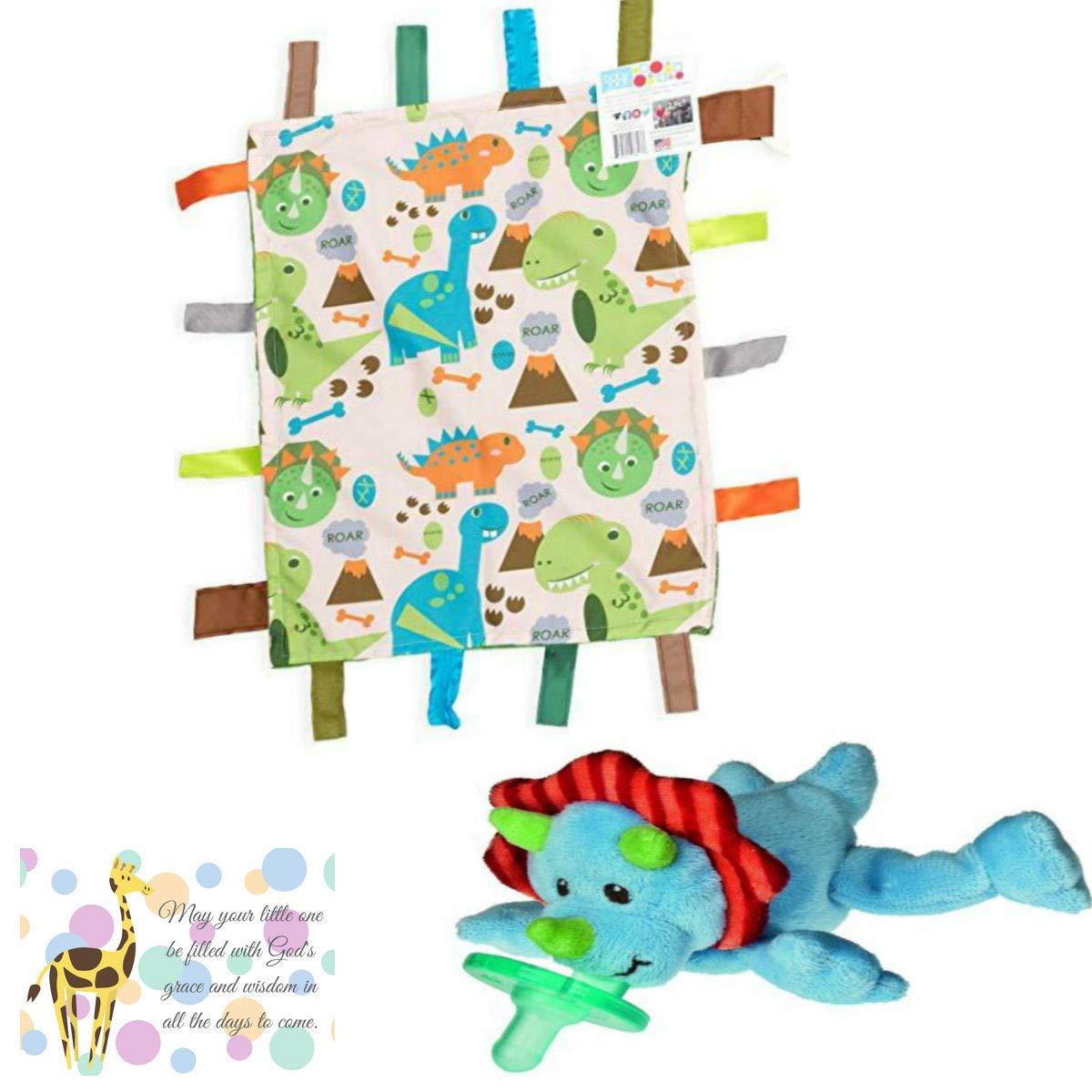 Mary Meyer Dino Wubbanub, Sensory Dinosaur Learning Lovey and Mini Gift Card Baby Gift Bundle-3 Items by Bigdream