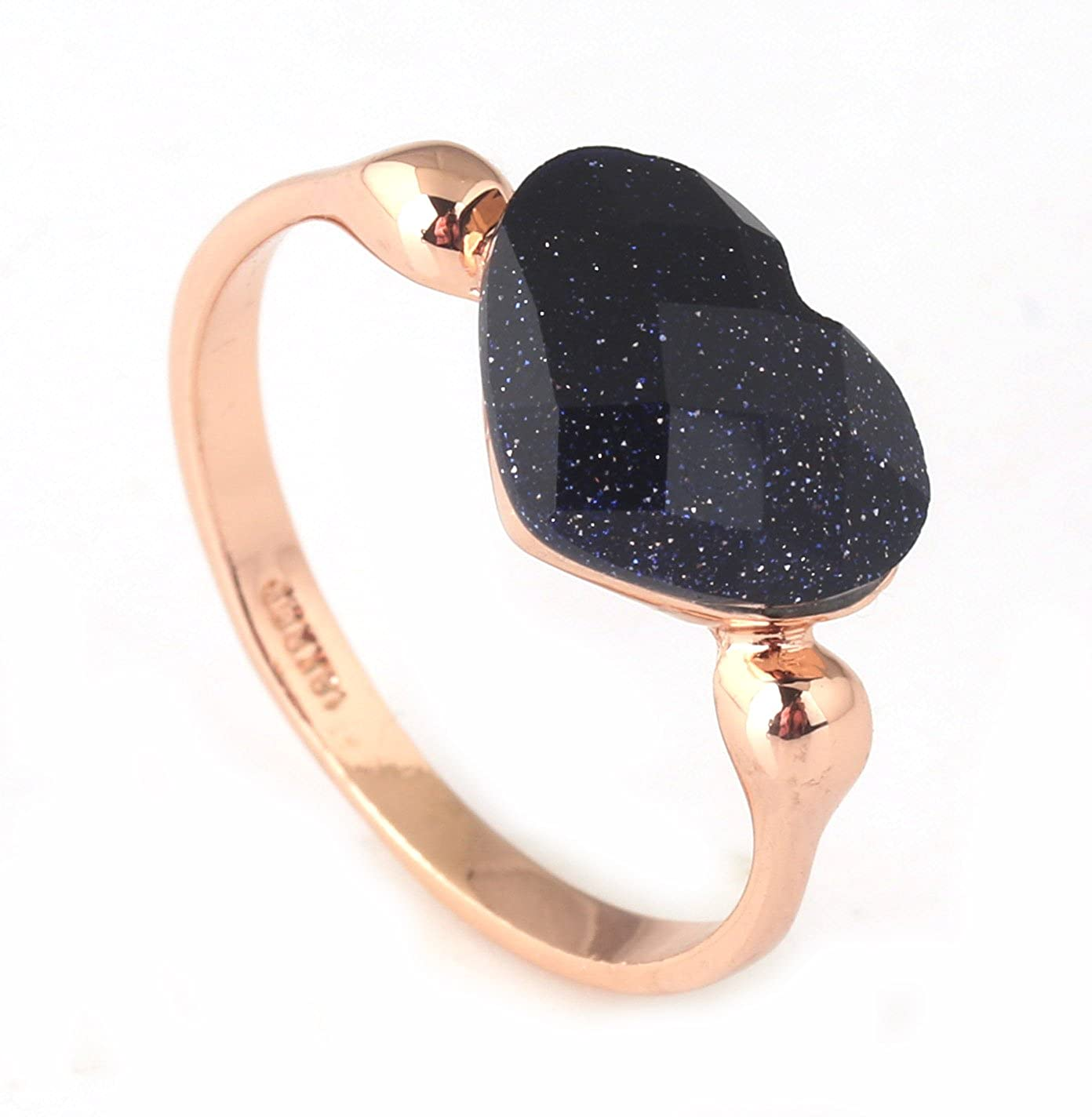 Acefeel Black Heart Rhinestone Champagne Gold Ring Valentine's Day Gift