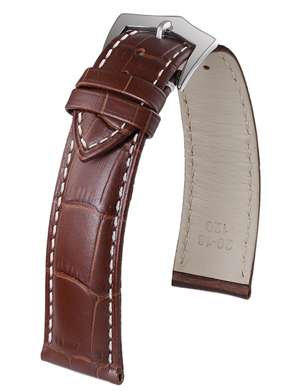 15mm Top-Class Brown Strap for Watches in Leather White Contrasting Seam Alligator Grain Pin Clasp Moderate Padding