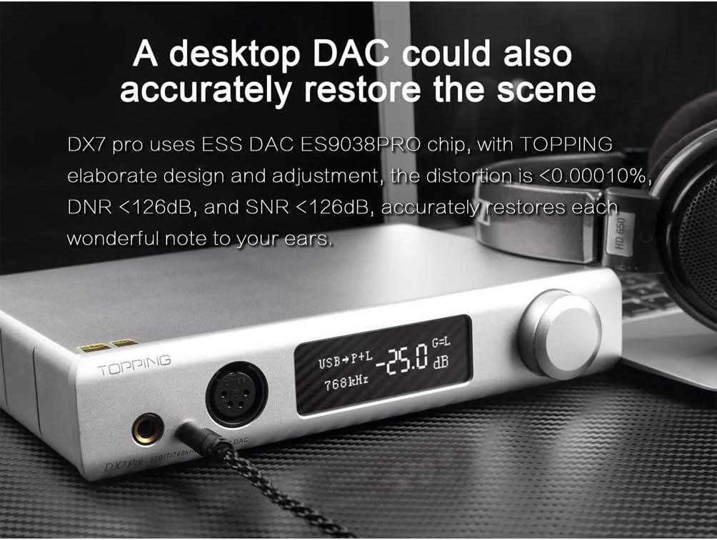 Amazon Com Topping Dx7 Pro Es9038pro Dac Bluetooth 5 0 Ldac 32bit 768khz Dsd1024 Full Balanced Headphone Amplifier Hi Res Digital Stereo Audio Decoder Silver Electronics