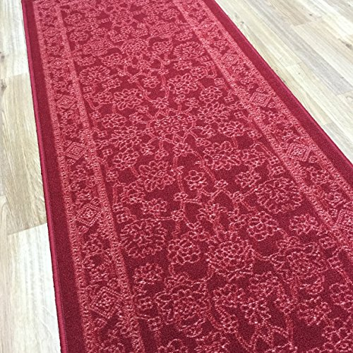 (Kapaqua Custom Size RED Egyptian Print Traditional Persian Rubber Backed Non-Slip Hallway Stair Runner Rug Carpet 31 inch Wide Choose Your Length 31in X 20ft)