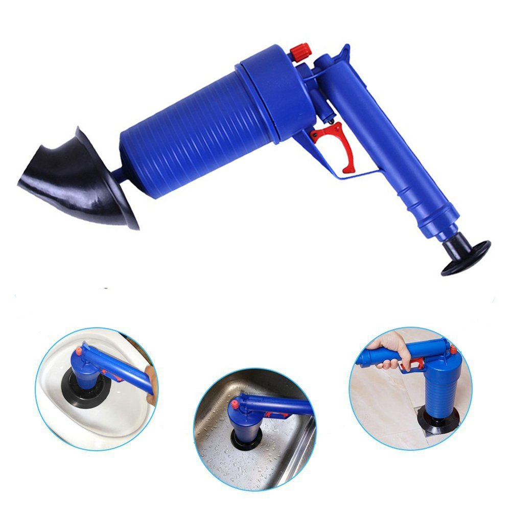 Drain blaster air Powered plunger gun, High Pressure Powerful Manual sink Plunger Opener cleaner pump for Bath Toilets, Bathroom, Shower, kitchen Clogged Pipe Bathtub (blue) by Storystore (Image #1)