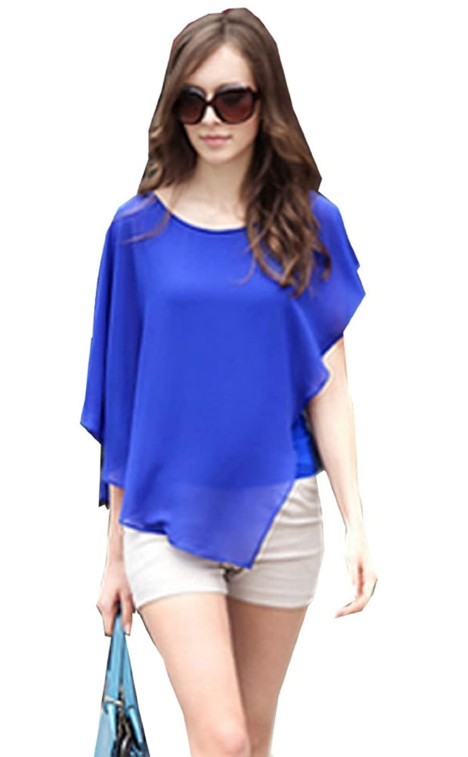 Zehui Lady Asymmetric OL Career Casual Batwing Sleeve Chiffon ...